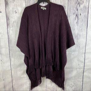 World Market Shawl Fringe Purple Sweater Winter